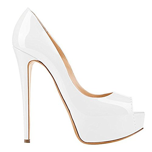 5b0198b63a49b4 ... Damenschuhe Pumps Peep Toe High-Heels Stiletto mit Plateau Rutsch  Hochzeit Weiß ...