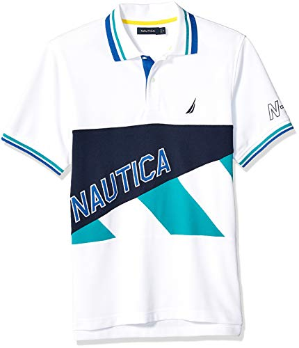 Nautica Herren Short Sleeve Classic Fit Pieced Fashion Logo Polo Shirt Poloshirt, Bright White, Mittel