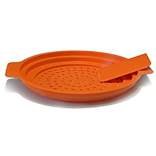 all-around24 Egg Noodle Sieve with Scraper and Instructions for Making German 'Spätzle' Noodles Professional Gourmet Quality (German Language Product), Plastic, Orange, 1