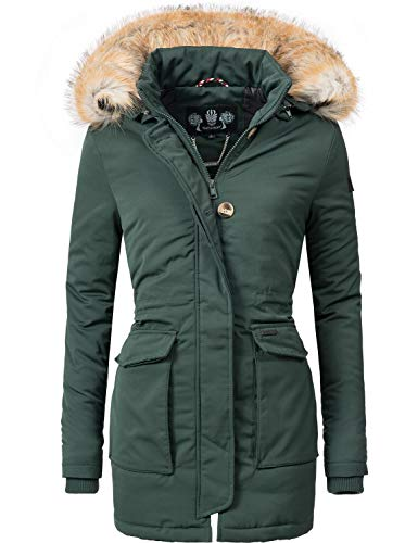 Navahoo Damen Winter-Jacke Winter-Mantel Schneeengel (vegan hergestellt) Grün Gr. M