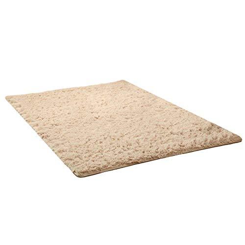 Thee tappeto peloso morbido e antiscivolo da sala da pranzo e da camera da letto (160x120cm, camel)