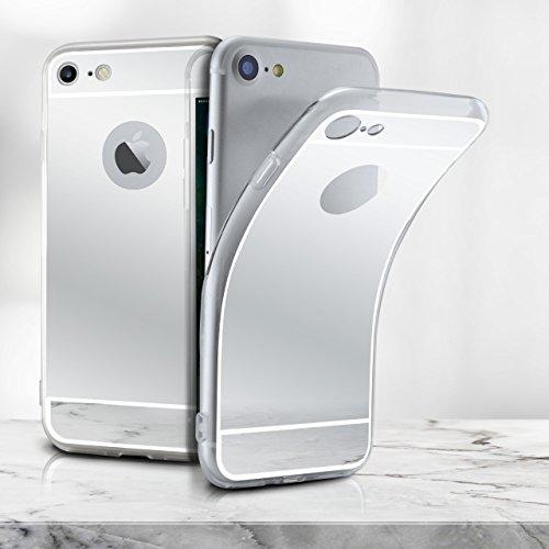 Spiegel iPhone 7/8 Plus Hülle Silber Silikon [OneFlow Mirror Back-Cover] TPU Schutzhülle Dünn Handy-Hülle für iPhone 7/8 + Plus Case Ultra-Slim Silikonhülle Rückseite SILBER