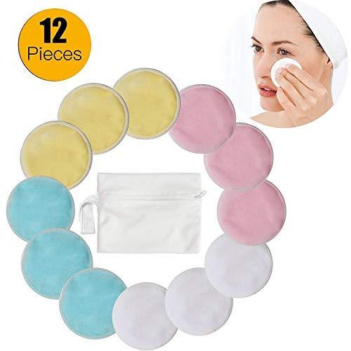 Makeup Lot de 12 tampons de démaquillage, tampons de nettoyage en bambou Navly avec sac à linge, réutilisables et lavables, pour les yeux et les femmes