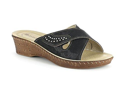 Frau Damen Überqueren Stich Detail Jeden Tag leicht Beiläufig Komfort Schlüpfen Keilabsatz Sandalen Schuhe Größe Schwarz