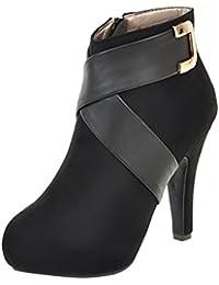 YE Damen High Heels Wildleder Stiefeletten mit Plateau Reißverschluss und  Schnallen Elegant Ankle… c75fd6eec3
