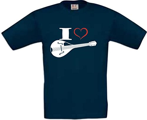 Shirtstown Kinder T-Shirt Musik I love Mandoline navy, Größe 18-24 Monate