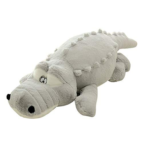 kigins Plüschtier Krokodil 110cm, Kuscheltier Alligator Weiche Stofftier Süß Plüschkrokodil Schlafzimmer Zubehör Grau -
