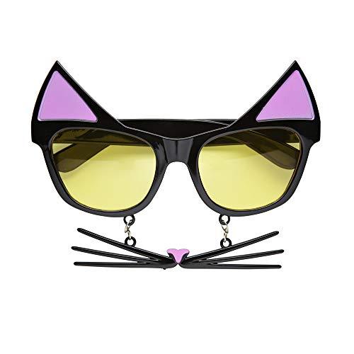 Widmann 0320C Katzenbrille mit Schnurrhaaren, Schwarz, One Size