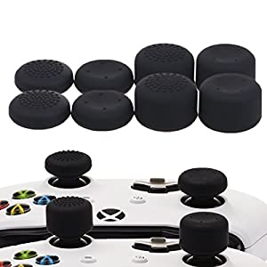 YoRHa Professionelle Aufsätze Daumengriffe Thumb Grips Thumbstick Joystick Cap Cover (schwarz) Extra Hoch 8 Stück Pack für Xbox One, Xbox One X, Xbox One S, Switch PRO Controller