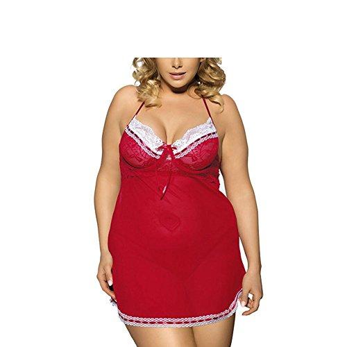 PU&PU Damen Sexy Dessous Kleid große größen Spitze Halfter Babydoll Bow Dekoration , Red , 3xl (Set Kleid Atemberaubendes Rock)