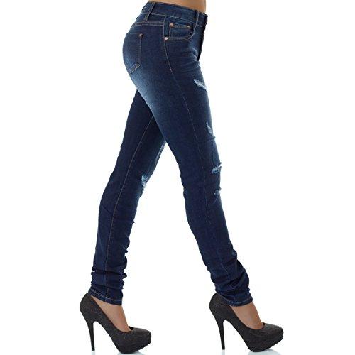 malucas Damen Jeans High Waist Hose Röhrenjeans Skinny Röhrenhose Slim Fit Stretch Blau