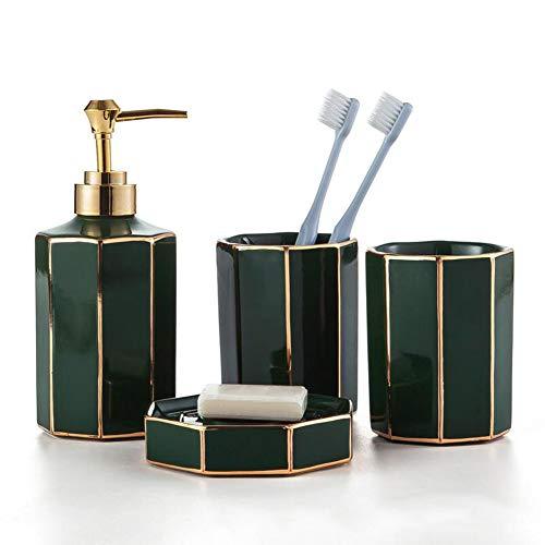TBSHLT Diseño Moderno 4 Piezas Juego de Accesorios para baño de cerámica, Incluye Dispensador de jabón líquido/loción, Vaso, Jabonera