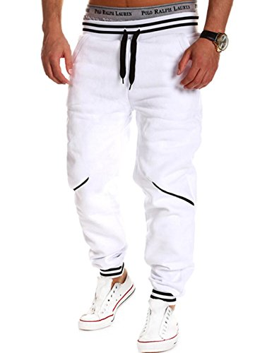 Teamyy Pantalones Chandal Hombre Casual Cintura Elástico Deporte Fitness  Blanco 2e66ad103e4a