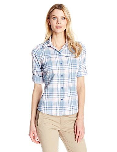 Columbia Damen Silber Ridge Plaid Long Sleeve Shirt, Damen, Beacon Dobby Plaid - Damen Beacon