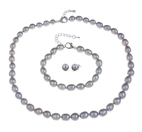 treasurebay Perle Schmuck Set, 7-8mm Reis Form grau natur Süßwasser Perlen Halskette, Armband-Set mit Gratis Paar Ohrringe Lieferung in beauriful Schmuck Geschenk-Box