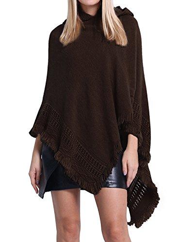 SUNNYME Damen Strick Poncho Cape Überwurf V-Ausschnitt Batwing Crochet Hoodie Strickjacken Kaffee One Size -
