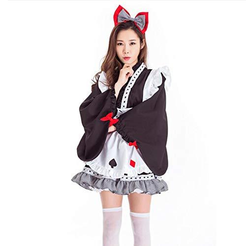 Kostüm Japanische Königin - PAOFU-Japanisch Kimono Kostüme Schick Kleid Maid Cosplay Kostüme,Schwarz,OneSize