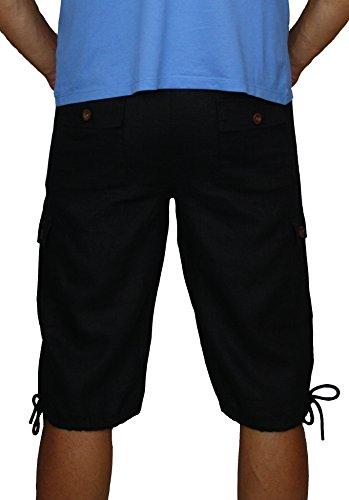 08637 PERANO Herren Leinen Shorts Bermudas. Schwarz