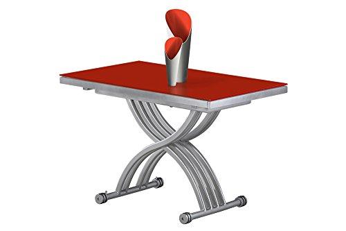 GIOVANNI MARCHESI Table Basse RELEVABLE Zen Verre Rouge