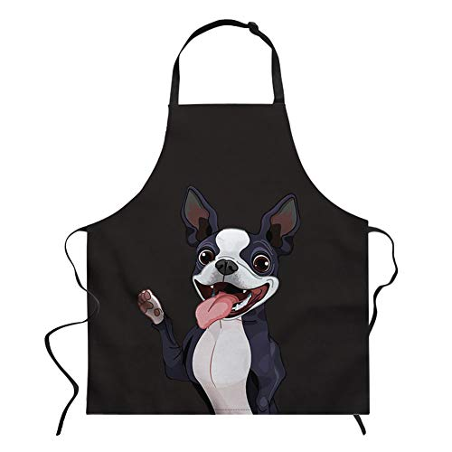 Nopersonality Schürze mit Tiermotiven, Verstellbare Schürze zum Kochen, Backen, Grillen, Baumwolle, Boston-Terrier, M Boston Server