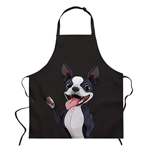 Nopersonality Schürze mit Tiermotiven, Verstellbare Schürze zum Kochen, Backen, Grillen, Baumwolle, Boston-Terrier, M (Boston Terrier Kostüme)