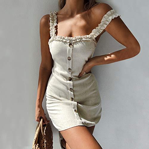Strap Womens Slip (DELI Womens Dress Strap Slip Rüschen Gingham Button Up Bodycon Sleeveless Minikleider Sommerkleid Lässige Strandkleider)
