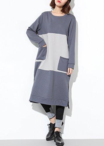 ELLAZHU Femme Décontracté Col Ras-Du-Cou Manche Longue Fentes Bloc De Couleur Mi-Longue Chemise Robe GY1168 GY1168 Grey