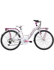'Bicicleta Cicli Adriatica Ctb De Niña, estructura de acero, rueda de 24, cambio Shimano de 6 velocidades, talla 34, 2 colores disponibles, Bianco
