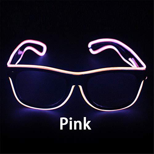 Kefaith Blinkende Gläser EL-Draht-LED-Glas-glühende Partei liefert Beleuchtungs-Neuheit-Geschenk-helles Licht-Festival-Partei-Glühen-Sonnenbrille Specialty Light (Farbe : Rosa)