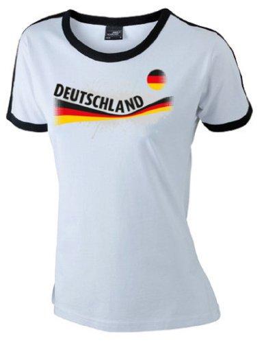 world-of-shirt Damen T-Shirt Deutschland Vintage Retro Shirt weiß M