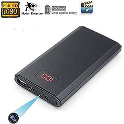 HD Cámara Oculta de Energía Móvil Pequeña 1080p Cámara Espía de Visión Nocturna Cámara de vigilancia de activación Móvil Pantalla de fuente de alimentación Digital Portátil 10000mAh@Laing-H