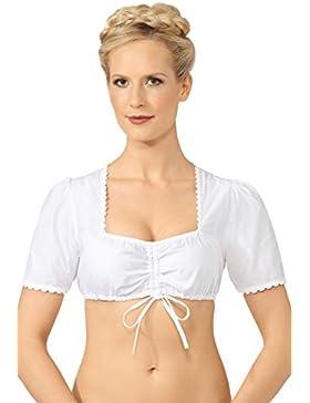Steindl Trachten München-Salzburg Dirndl Blusa para mujer, color blanco weiß