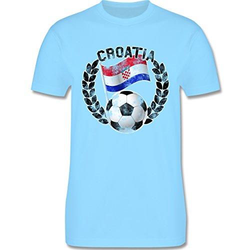 EM 2016 - Frankreich - Croatia Flagge & Fußball Vintage - Herren Premium T-Shirt Hellblau