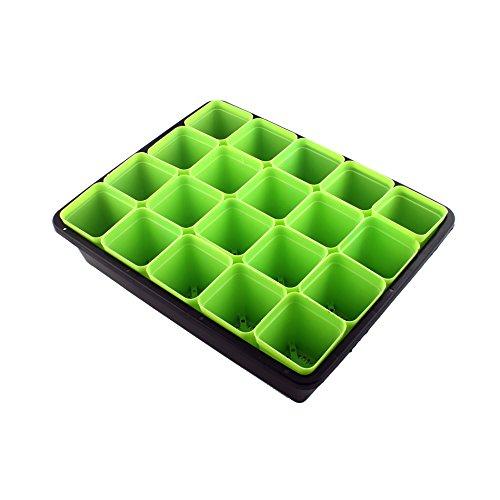Anzuchttöpfe Pflanztöpfen Kit Anzuchtplatte Topfplatte Saatschalen ( Grün ) Vierkant-Töpfe Vierecktopf Viereckig Pflanztopf Blumentopf Pflanzgefäß Starter Sämling