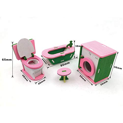 COOFIT 2 Set Furniture Toy Miniature Wooden Doll Furniture Set Dollhouse Furniture Toy