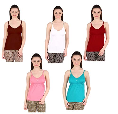 GMR Women's Cotton Camisole Bra Slip (KCM23, Multicolour, Small 80cm) - Combo Set of 5