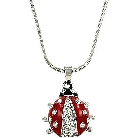 dianal Boutique Plateada adorable Little diseño de mariquita collar y colgante Charms con cadena de 18