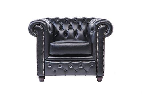 Original Chesterfield Sofas und Sessel – 1 / 2 / 3 Sitzer – Vollständig Handgewaschenes Leder – Schwarz