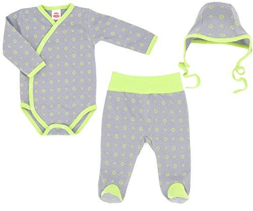 Makoma Baby ragazze e ragazzi 3pezzi set in Body da neonato Baby pantaloni e cappello-127Lemon-(56-68) limone 56 cm