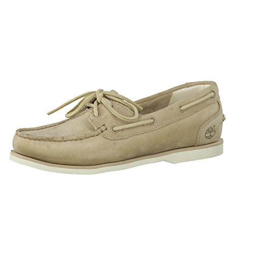 Timberland Womens Classiques Boat A14e1 sans Doublure Chaussures Blanc Cassé Beige