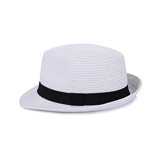 YACHEN Männer Sommer Papier Jazz Hut Casual Vintage Fedora Hut Britischen Stil Klassische Trilby Jazz Caps (Color : White, Size : One size)