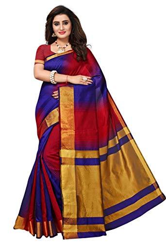 Fabwomen Women\'s Zari Work Kanjeevaram Silk Fashion Saree with Blouse Piece, Free Size (Blue and Red)