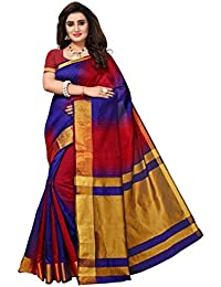 GoSriKi cotton with Blouse Piece Saree (MANIYAR NAVY_ Blue_ Free Size)