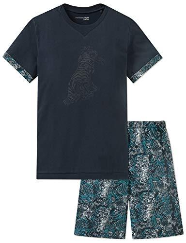Schiesser Jungen Anzug kurz Zweiteiliger Schlafanzug, Grau (Graphit 207), 140 (Herstellergröße: XS) -