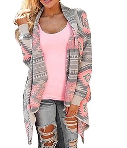 Cape Femme, Kolylong® Femmes Manteau GéOméTrique Imprimé Manches Longues En Coton Kimono Cardigan Couvrez-Vous Tops (S)