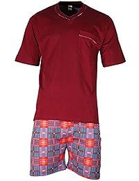 Herren Schlafanzug Shorty kurz aus 100% Baumwolle T-Shirt uni Hose im Karolook - Qualität von Lavazio®