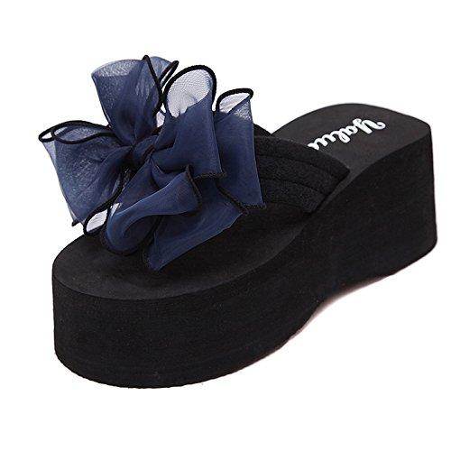 Sommer koreanische Version des Flip Flops weiblich Bogen Hang mit rutschfeste Plattform hochhackigen Schuhe clip Füße mode Sandalen und Hausschuhe weiblich, 37 Plus size, schwarz high-heeled + violett-blaue Schmetterling