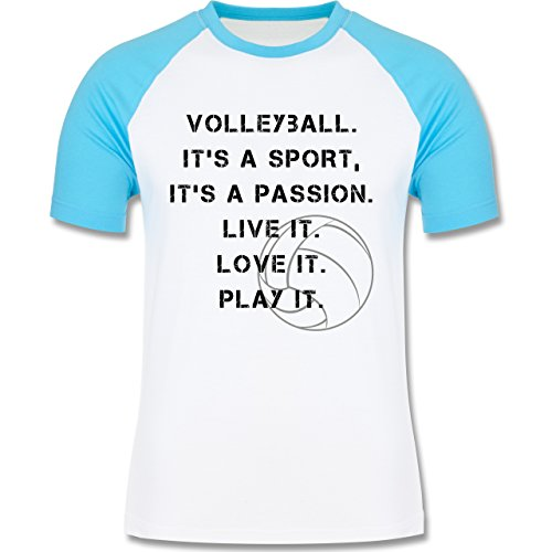 Shirtracer Volleyball - Volleyball Statement - Herren Baseball Shirt Weiß/Türkis