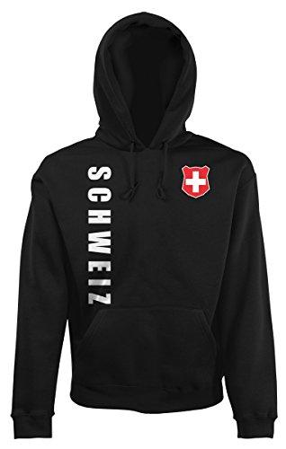 Schweiz Kapuzenpullover Hoody Trikot Wunschname Wunschnummer (Schwarz, XXL)
