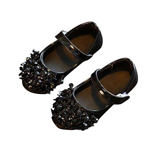 Brinny Baby Mädchen Perle Pailletten Flach Ballerinas Schuhe Velcro Halbschuhe Schwarz
